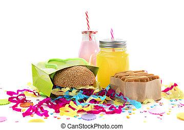 箱, ハンバーガー, 金ピカ物, カクテル, スナック, お祝い, 贈り物, クッキー, colors., 紙ふぶき, 飽和させられた, 休日, 構成, 飲み物