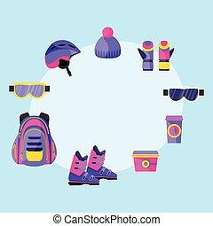箱, バックパック, カップ, -, 付属品, マスク, 昼食, スキー, snowboarding, 手袋, ヘルメット