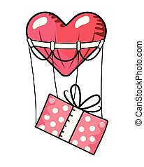 箱, バレンタイン, 漫画, 贈り物