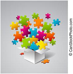 箱, パズル, フルである, ベクトル, カラフルである