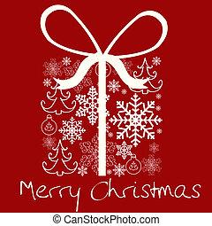 箱, パターン, 雪片, 贈り物, クリスマス