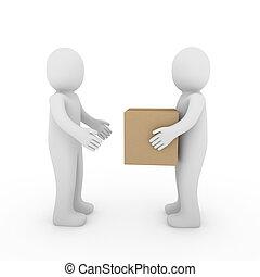 箱, パッケージ, 2, 出荷, 人間, 3d