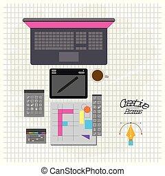 箱, パレット, 色, 道具, 創造的, 環境, プロセス, コンピュータ, デザイン, 背景, 格子, ラップトップ