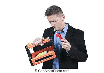 箱, ビジネスマン, 道具