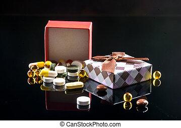 箱, ビタミン, 贈り物, 丸薬