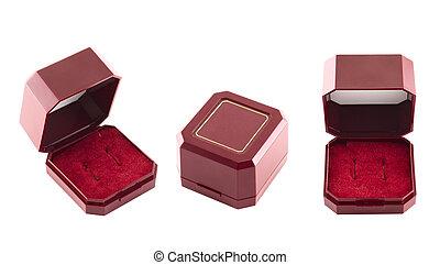 箱, ビロード, 宝石類, 贈り物, 隔離された, 赤