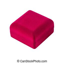 箱, ビロード, 贈り物, 隔離された, 白い赤