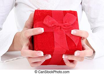 箱, ビロード, 赤, 贈り物
