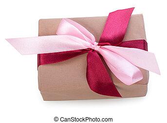 箱, ピンク, の上, 贈り物, 上, 弓, 2, 隔離された, 色, 背景, 赤, 包まれた, 終わり, 白, ビュー。, リボン