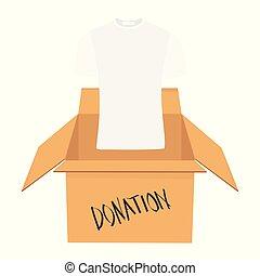箱, フルである, concept., 寄付, 寄付しなさい, 衣服