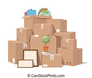 箱, フルサービス, 動きなさい, イラスト, ベクトル
