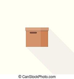 箱, ブラウン, イラスト, 平ら, ペーパー, ベクトル, デザイン