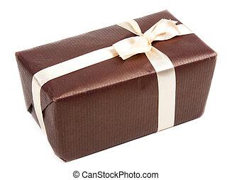 箱, ブラウン, ギフトの弓
