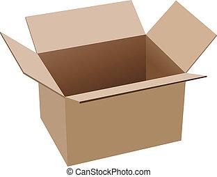 箱, ブラウン, ボール紙, 開いた