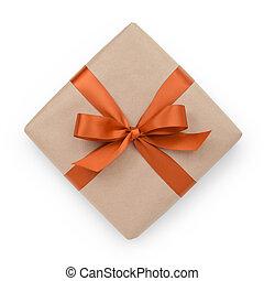 箱, ブラウン, 弓, 包まれた現在, オレンジ, リボン