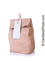 箱, ブラウン, 昼食, タグ, 隔離された, 袋, ペーパー, バックグラウンド。, 白