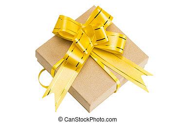 箱, ブラウン, 贈り物, 上, 隔離された, 弓, リサイクルされる, ペーパー, 背景, 包まれた, 白いリボン, 光景