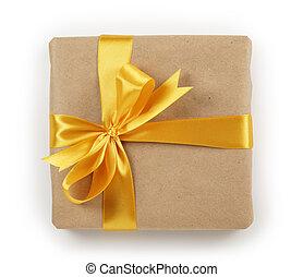 箱, ブラウン, 贈り物, 金, 上, 弓, ペーパー, リボン, 光景