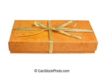 箱, ブラウン, 贈り物, 隔離された, 黄色, 弓, 背景, 白