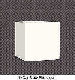 箱, ブランク, 白, カートン, icon., 3d
