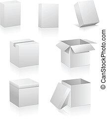 箱, ブランク, 白, 隔離された