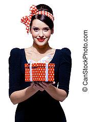 箱, ブルネット, 贈り物, 素晴らしい