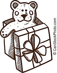 箱, プレゼント, 熊, テディ