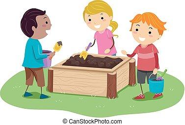箱, プレーしなさい, 子供, stickman, イラスト, 泥