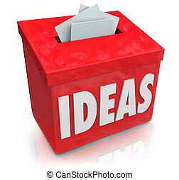 箱, プロダクト, 原稿, プロセス, 考え, 創造的, 赤, 革新的, 新しい, ∥あるいは∥, 考え, 作成