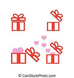 箱, ベクトル, コレクション, 贈り物, テンプレート