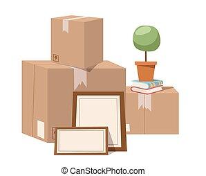 箱, ベクトル, サービス, 動きなさい, フルである, イラスト