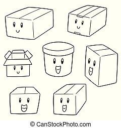 箱, ベクトル, セット, 漫画