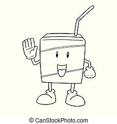 箱, ベクトル, ミルク, 漫画