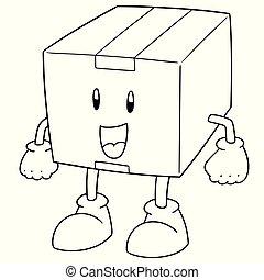 箱, ベクトル, 漫画