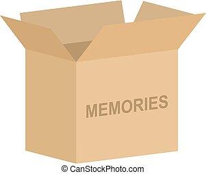 箱, ベクトル, 開いた, 記憶