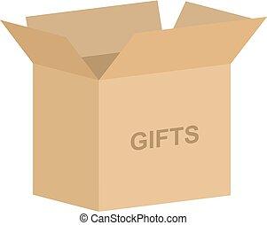 箱, ベクトル, 開いた, 贈り物