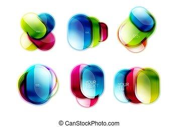 箱, ボタン, ラウンド, 光沢がある, 網, 効果, ガラス, 3d, セット, あなたの, グロッシー, デザイン, logo., アイコン, テキスト, ∥あるいは∥, フレーム, 旗