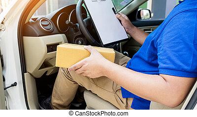 箱, ボール紙, バン, 点検, リスト, 席, 出産, 外, 倉庫, 文書, 包み, 人