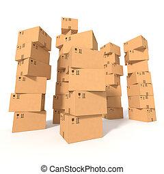 箱, ボール紙, 山