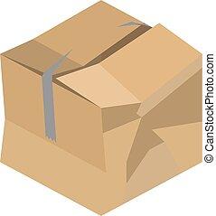 箱, ボール紙, 押しつぶされた, ベクトル