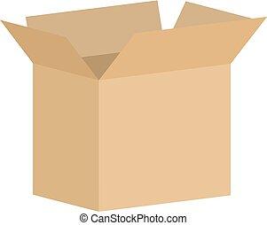 箱, ボール紙, 開いた, ベクトル