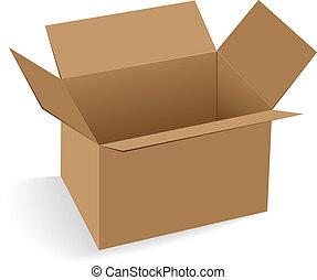 箱, ボール紙, 開いた, 空