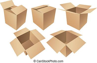 箱, ボール紙, 隔離された, 白