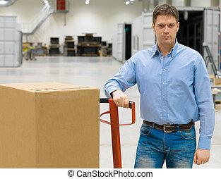箱, マレ, 労働者, warehouse.