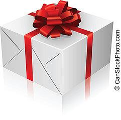 箱, リボン, プレゼント, bow., 赤