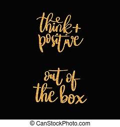 箱, レタリング, ポジティブ, -, 言葉, 考えなさい, から