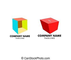 箱, ロゴ, セット, テンプレート, ベクトル