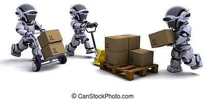 箱, ロボット, 出荷