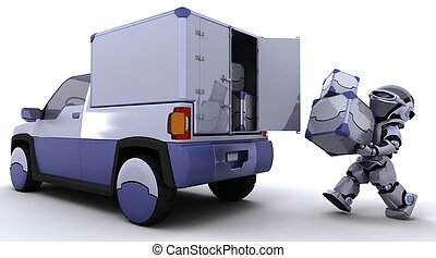 箱, ローディング, トラック, ロボット, 背中