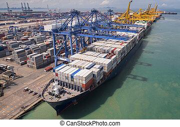 箱, ローディング, 容器, ロジスティックである, クレーン, 容器, 港, ボート
